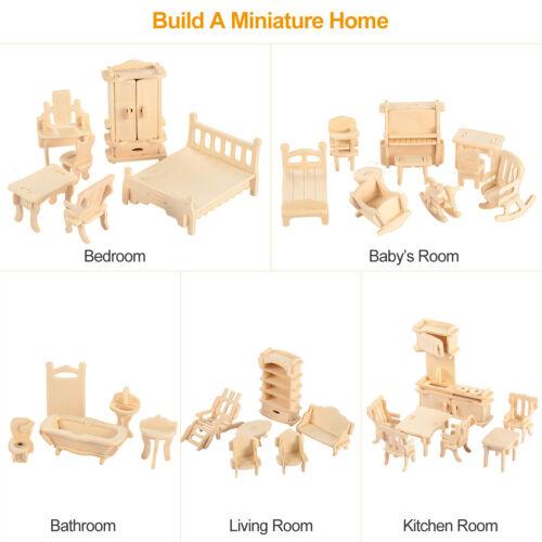 Set Wooden Dollhouse Furniture Miniature 3D Model Puzzles Kids Gift Kits 34Pcs