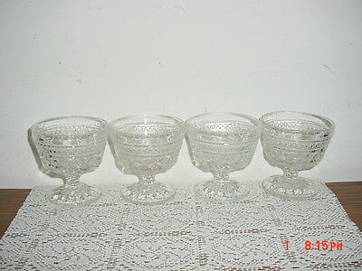 "4-PC ANCHOR HOCKING ""WEXFORD"" 3 1/2"" SHERBERT-PUDDING-SERVING GLASSES/FREE SHIP!"