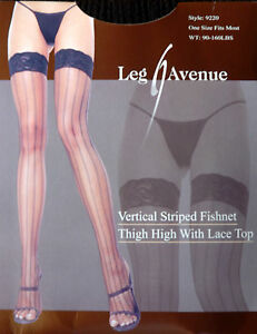 07f29741f Image is loading Leg-Avenue-Vertical-Striped-Fishnet-with-Lace-Top-