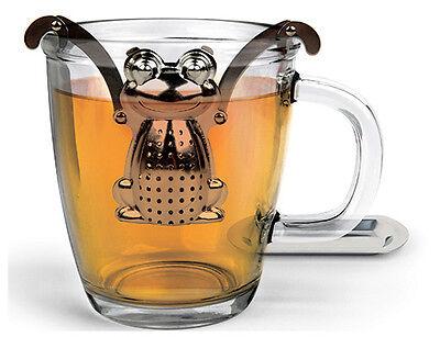 *NEW* Stainless Steel Novelty TEA INFUSER & Drip Tray Kikkerland FROG