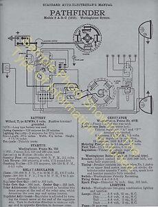 1921 hudson super six model o car wiring diagram electric system rh ebay com Light Switch Wiring Diagram 3-Way Switch Wiring Diagram