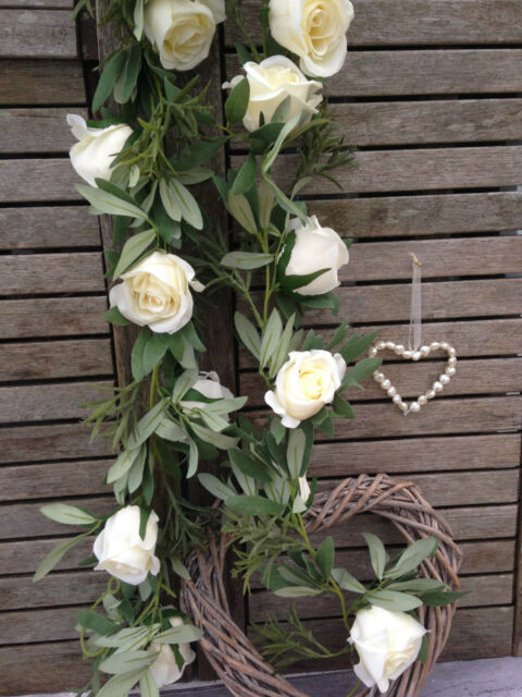 Fabulous Ivory Cream Rose Garland Artificial Silk Flowers Wedding Bedroom Home Remodeling Inspirations Cosmcuboardxyz