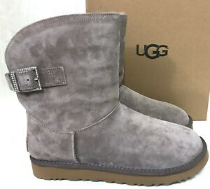 476d6c0ebd1 Details about NEW WOMENS 8 STORMY GREY UGG REMORA BUCKLE SUEDE SHEEPSKIN  CRYSTAL BLING BOOTS