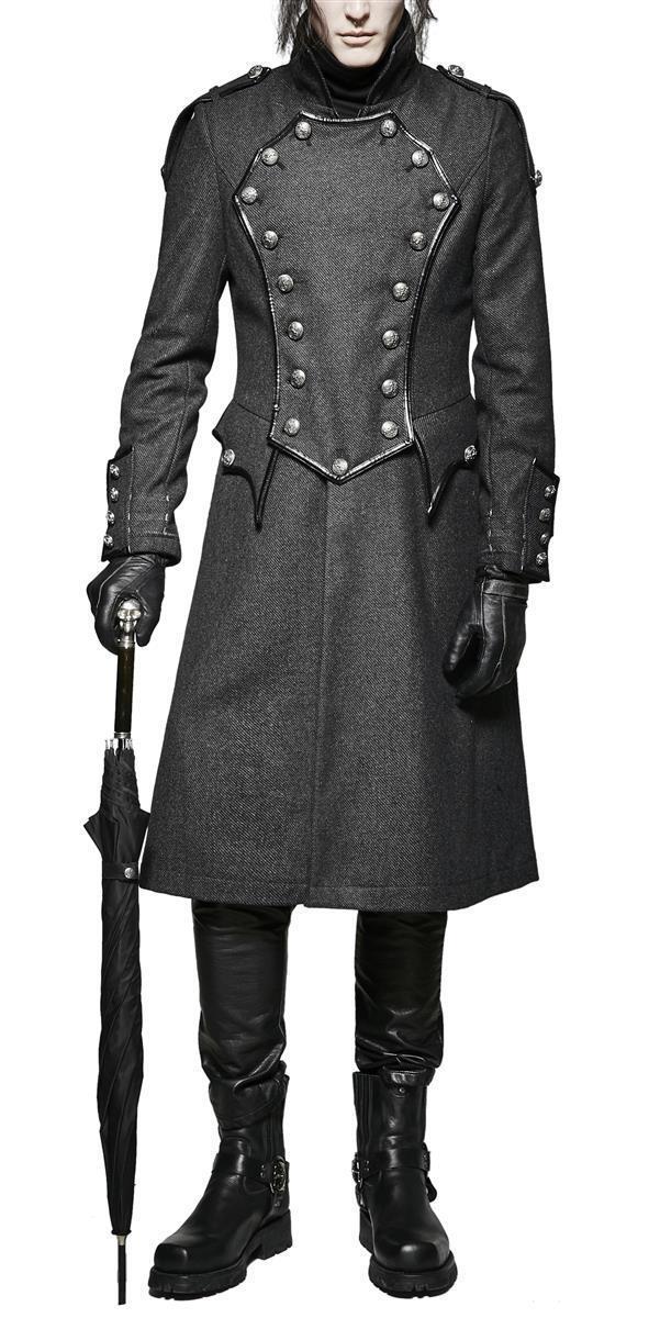Manteau Trench Punk Rave Veste Gothique Militaire Militaire Militaire Redingote Y-704 e1c664