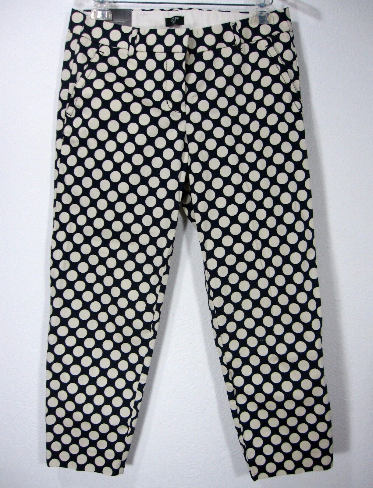 J CREW STRETCH NWT CITY FIT POLKA DOTS SKIMMER PANTS SIZE 6 blueE WHITE  Cotton