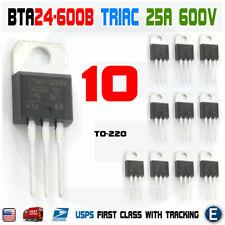 10pcs Bta24 600 Triac Thyristor 25a 600v St Bta24 600b To 220