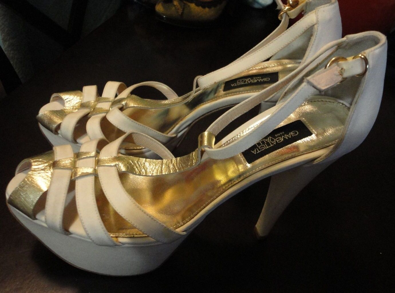 GIAMBATTISTA VALLI Paris High Platform Platform Platform Heels Weiß Satin Gold Leather 37.5 7.5 9139e5