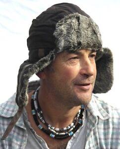 large Original Waxed Ushanka Trapper Hat With Fur Trim Reines Und Mildes Aroma Size 59cm