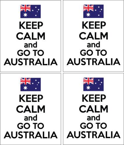 KEEP CALM AND GO TO AUSTRALIA Australian x 4 VINYL STICKERS 14cm x 9cm