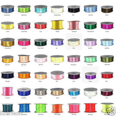 """1/16"""" or 1/8"""" Double Faced Satin Ribbons 100% Polyester 100 Yards Roll Bulk"""