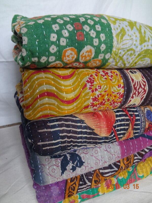 Kantha Quilt Indian Vintage Reversible Throw Handmade Blanket Wholesale Lot 4 pc