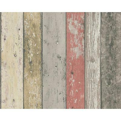 NEW AS CREATION PAINTED WOOD BEAM WOODEN PANEL FAUX EFFECT TEXTURED WALLPAPER