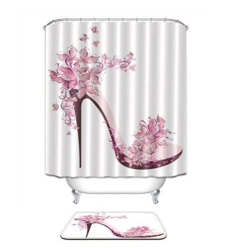 """72x72/""""Flower High Heel Bathroom Polyester Fabric Shower Curtain Mat Hook 1580"""