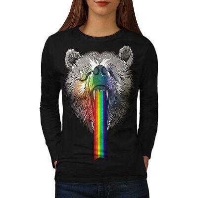 Amichevole Wellcoda Rainbow Bear Head Da Donna Manica Lunga T-shirt, Crazy Casual Design-mostra Il Titolo Originale Fabbricazione Abile