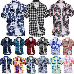 Mens-Short-Sleeve-Hawaiian-T-Shirts-Button-Down-Summer-Beach-Holiday-Casual-Tops
