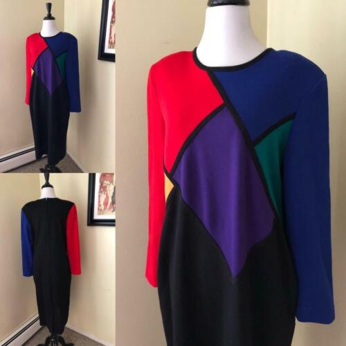 Vintage 1980's Mondrian Color Block Sweater Dress