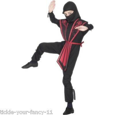 BOYS NINJA COSTUME FANCY DRESS OUTFIT ROLE PLAY BLACK SAMURAI WARRIOR WORLD BOOK