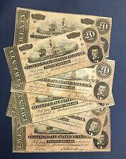 1864 CIVIL WAR CONFEDERATE MONEY $20.00 TWENTY DOLLAR NOTE BILL RICHMOND VA