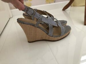 Uk Sandals Wedge Hessian Ladies 5 With Navy amp; Wedge White Striped Barratts XTY7qvww