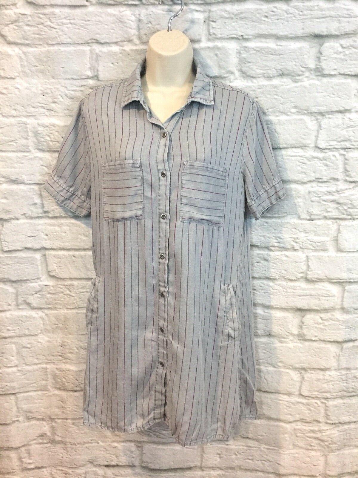 Billy T Women's Gray Striped Chambray Short Sleeve Pockets Shirt Dress Sz Small