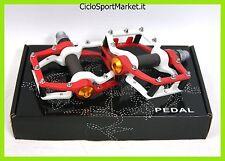 Coppia pedali MTB/ BMX/Scatto Fisso in Alluminio CNC - Colore Rosso/Bianco