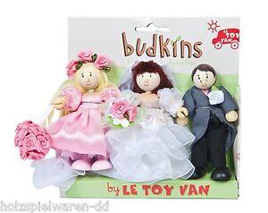 Le Toy Van BK911 Budkins Hochzeits Set Braut Bräutigam... Biegepuppen NEU!     #