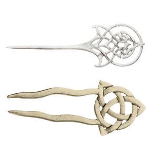 2x Fashion Damen Celtic Knot Haarnadel Gabel Celtic Knot Bronze Silbrig