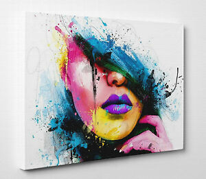 x large abstraction woman girl face colourful picture canvas print