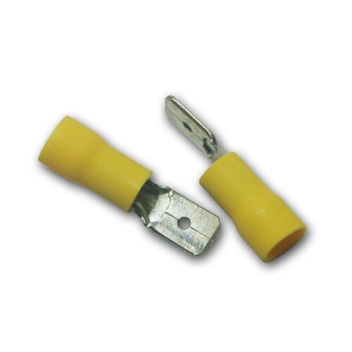 Flachstecker gelb 6,3 x 0,8mm für 4,0-6,0mm² Kabelschuh Stecker 10 Kabelschuhe