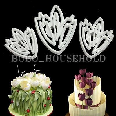 3pcs Tulip Flower SugarCraft Fondant Cake Cookie Cutter Decor Biscuit Mould XMAS