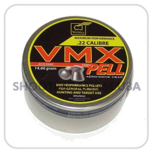 5.5 mm WEBLEY VMX PELL.22 ~ TIN di 250 PELLET PER AIR FUCILE PISTOLA