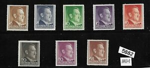5882-Mixed-MH-Stamp-set-Adolph-Hitler-1941-Third-Reich-Poland-Occupation