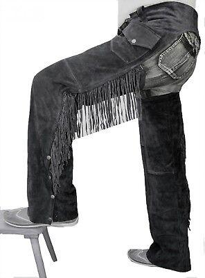 German Wear,Chaps Fransenhose Cowboy Indianer Western Lederchaps Leder Schwarz | eBay