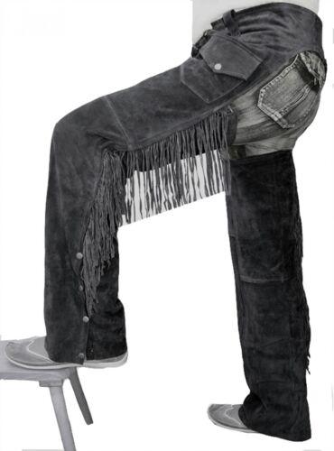 German Wear Chaps flecos pantalones vaquero indios Western zahones de cuero negro