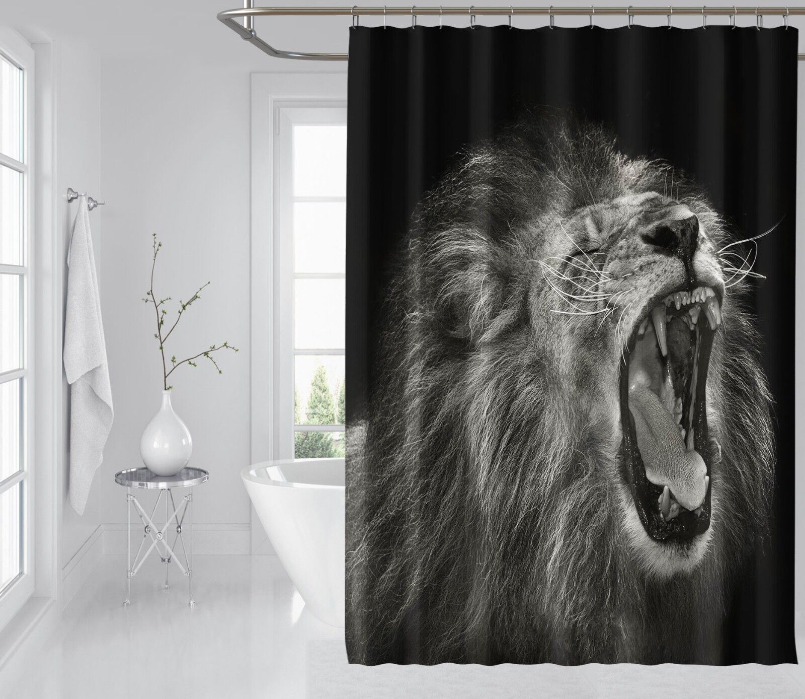 3D Animal Lion 468 Shower Curtain Waterproof Fiber Bathroom Home Windows Toilet
