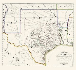 Old State Map Texas Association for German Immigrants 1851