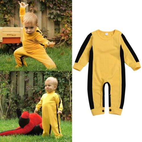 Bruce Lee Toddler Baby Girls Boys Long Sleeve Classic Jumpsuit Romper Clothes