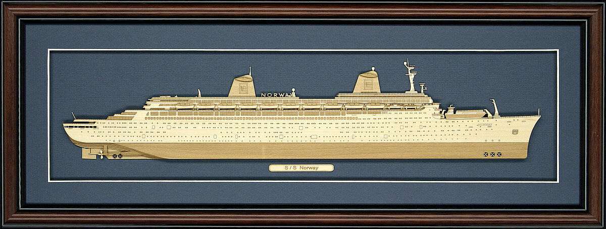 Wood Cutaway Model of of of SS Norway - Made in the USA 12144f