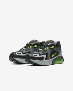 Nike-Air-Max-200-GS-Running-Shoes-Size-7Y-AT5627-006-Dark-Grey-Black-Green