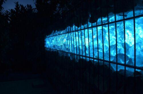 Led Gabionen Licht Beleuchtung LED 2x1,0m länge 360° Farbe blau Garten 230 Volt