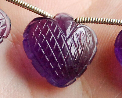 12mm Natural African Amethyst Carved Heart Briolette Semi Precious Gemstone Bead