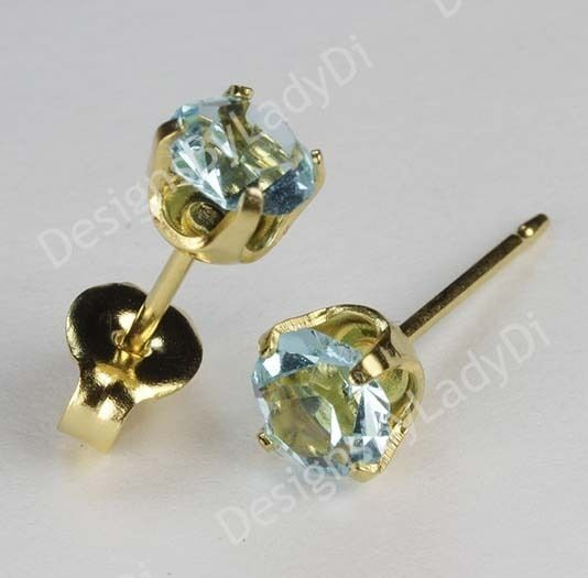 Studex Sensitive Gold 5mm Baby Blue March Simulated Aquamarine Stud Earrings Ebay
