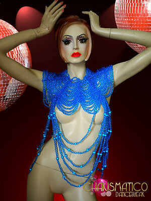 CHARISMATICO Exotic High Necked and Draped Clear Blue Beaded Diva Necklace