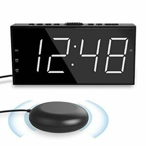 Extra Loud Alarm Clock Digital Display with Vibrating Shaker for Heavy Sleepers