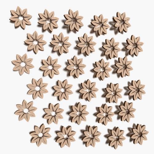 30x  kleine Blumen blank Form Holz Basteln Malen Dekoration Wohnen V15