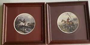 Set Of English Fox Hunt Pictures Matted And Framed Vintage