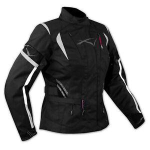 Ladies Motorcycle Motorbike Thermal Waterproof Textile Touring Jacket Black XXL