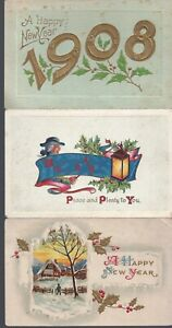 Vintage-Assorted-Happy-New-Year-Postcards-Circa-1800-039-s-1900-039-s-Lot-of-5