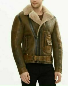 Men/'s Aviator Original Sheepskin Leather Shearling Bomber Flying Jacket Brown Jacket