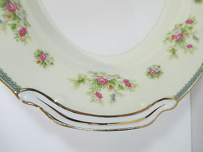 Noritake Serving Platter Oval Vtg Nippon Toki Kaisha Floral Blue Border Handles